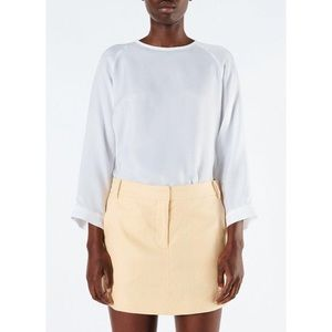 Tibi Cupro Easy Top with Leather Details